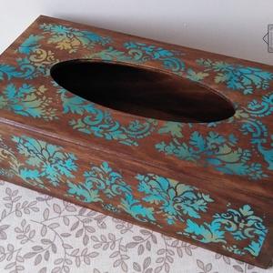 Zsebkendőtartó elegáns keleti mintával - ajándéknak, vagy csak úgy magadnak…, Zsebkendőtartó, Tárolás & Rendszerezés, Otthon & Lakás, Festett tárgyak, Papír zsebkendők, kozmetikai kendők szép, egyedi és dekoratív tárolója lehet szekrényen, asztalon. H..., Meska