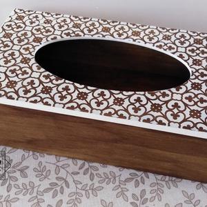 Zsebkendőtartó elegáns keleti mintával - Ajándéknak, vagy csak úgy magadnak…, Zsebkendőtartó, Tárolás & Rendszerezés, Otthon & Lakás, Festett tárgyak, Zsebkendők, kozmetikai kendők szép, egyedi és dekoratív tárolója lehet szekrényen, asztalon. Ha ilye..., Meska