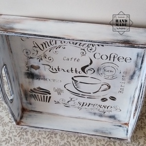 Vintage kínálótálca fehér színvilág - nem csak kávé imádóknak - otthon & lakás - konyhafelszerelés - tálca - Meska.hu