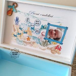 Baba emlékdoboz fiúnak - emlékek őrzésére, Gyerek & játék, Gyerekszoba, Baba-mama kellék, Tárolóeszköz - gyerekszobába, Otthon & lakás, Dekoráció, Fotó, grafika, rajz, illusztráció, Decoupage, transzfer és szalvétatechnika, Kisbabátok születik vagy babalátogatóba keresel ajándékot? \n\nAz újszülött karszalagja, ultrahang kép..., Meska