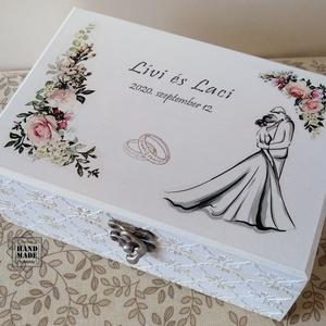 Fehér elegancia - esküvői pénzátadó doboz dombormintával, Esküvő, Nászajándék, Emlék & Ajándék, Decoupage, transzfer és szalvétatechnika, Festett tárgyak, Meska