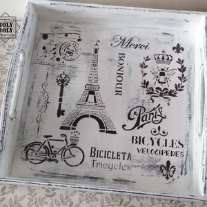 Párizs világa - Vintage kínálótálca fehér színvilágban koptatva, Otthon & Lakás, Konyhafelszerelés, Tálca, Festett tárgyak, Régies hatású, rusztikus és kedves kínálótálca - fehér színben, koptatva, antikolva.  Akrilfestékkel..., Meska