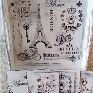 Párizsi mintás vintage kínálótálca és alátétek fehér színvilágban koptatva - szettben, Otthon & Lakás, Konyhafelszerelés, Tálca, Festett tárgyak, Régies hatású, rusztikus és kedves kínálótálca és hozzá illő 6 db poháralátét - fehér színben, kopta..., Meska