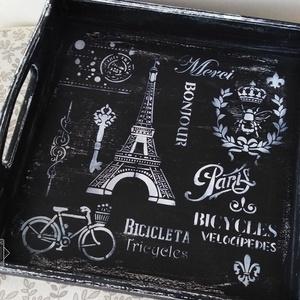 Párizs világa - Vintage kínálótálca fekete színvilágban koptatva - Meska.hu