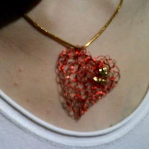 piros szív rózsával nyaklánc (BomBomok) - Meska.hu