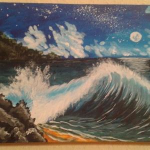 Telihold a parton, Képzőművészet, Otthon, lakberendezés, Festmény, Falikép, Festészet, 24* 18 cm  akril kép festő vásznon., Meska