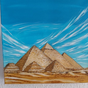 Gizai piramisok, Otthon & lakás, Képzőművészet, Festmény, Akril, Lakberendezés, Falikép, Festészet, 30*30 cm-es akril képem festő vásznon, nem kell hozzá keret, anélkül is mutatós kép.\nPiramisok csodá..., Meska