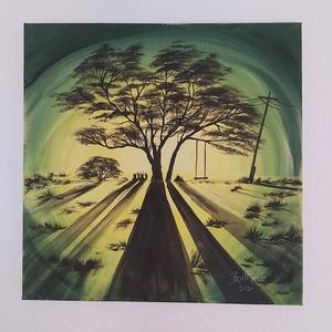 Fénysugár, Otthon & lakás, Képzőművészet, Festmény, Akril, Lakberendezés, Falikép, Festészet, 40*40 cm akril képem. Erdőszéli  fát világít meg sejtelmesen egy autó, illetve erős fényforrás.\nAz á..., Meska