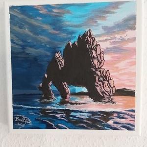 Naplemente a sziklás tengerparton, Otthon & lakás, Képzőművészet, Festmény, Dekoráció, Kép, Lakberendezés, Falikép, Akril, Festészet, 20 x 20 cm akril festékkel festett kép, festő vásznon. \nKeretezést nem igényel azonnal falra tehető...., Meska