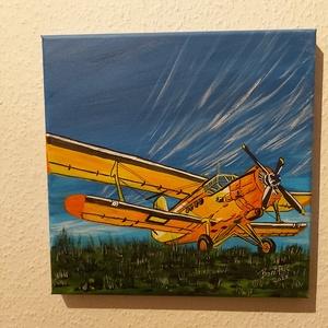 An-2, Akril, Festmény, Művészet, Festészet, 30 x 30 cm akril festékkel készült vászon képem.\nAn-2 repülőgép a mezőn. \n\n A kép keret nélkül is fa..., Meska