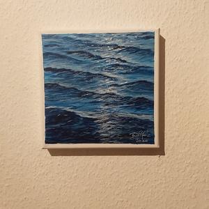 Fényjáték a vízen, Akril, Festmény, Művészet, Festészet, A fény megcsillan a víz felületén.\n20*20 cm akril festékkel festett képem festővásznon.\nKeret nélkül..., Meska