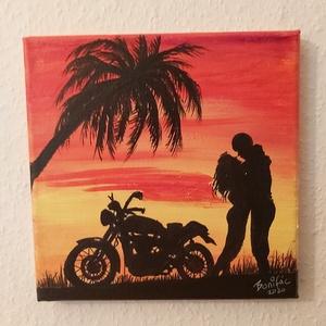 Motoros szerelem, Akril, Festmény, Művészet, Festészet, \n20*20 cm akril kép vásznon.\nFalra rakható egyből keret sem szükséges hozzá.\n\nMotorozás és a szerele..., Meska