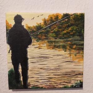 Horgász a tónál, Akril, Festmény, Művészet, Festészet, 20*20 cm akril festékkelés ecsettel készített képem\n\nHorgásza tónál címet adtam neki. A képen az tet..., Meska