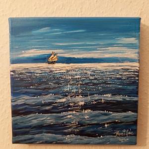 Tenger, Akril, Festmény, Művészet, Festészet, 20*20 cm akril kép fakeretes vásznon. A kép szállítás után falra tehető, keret sem kell hozzá.\nNagyo..., Meska