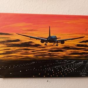 Airport, Otthon & lakás, Dekoráció, Kép, Lakberendezés, Falikép, Képzőművészet, Festmény, Akril, Festészet, Airport címet adtam a képemnek.\n\nEgy leszálló utasszállító repülőgépet ábrázol a leszállópálya felet..., Meska