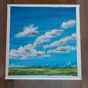 Mező, Művészet, Festmény, Akril, Festészet, 20*20 cm akril festékkel ecsettel készült képem.\nAjándéknak tökéletes, a ház dísze tud lenni.  Tájké..., Meska