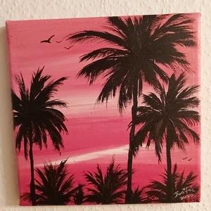 Pálmafák a naplementében, Művészet, Festmény, Akril, Festészet, 20 x 20 cm akril festékkel festettem vászonra és  ecsettel.\nA kép vízálló és egyből a falra akasztha..., Meska