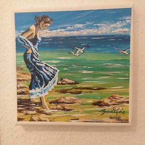 Tengerparti séta, Otthon & Lakás, Dekoráció, Kép & Falikép, Festészet, 20 x 20 cm akril kép vásznon. Ecsettelés, kézzel készült kép. \nAjándéknak tökéletes. A falra képkere..., Meska