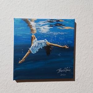 Merülés, Művészet, Festmény, Akril, Festészet, 20 x 20 cm  akril festékkel és ecsettel készült festményem.\nFalon keret nélkül is használható,  vízá..., Meska