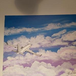 Felhők között, Művészet, Festmény, Akril, Festészet, 50 x 40 cm-eskép.\nAkril kép a repülés szerelmeseinek.\nAzonnal a képet falra akasztható, nem kell kép..., Meska