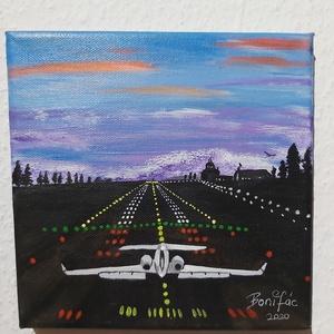 Felszállás elött, Művészet, Festmény, Akril, Festészet, 20 x 20 cm akril festékkel készült vászon  képem.\n\nA repülés szerelmeseinek készült.\na kép azonnal a..., Meska
