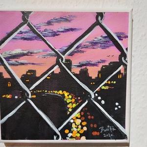 Lezárt város, Művészet, Festmény, Akril, Festészet, 20 x 20 cm akril kép amit ecsettel és kézzel készítettem vászonra.\nA kép keret nélkül is nagyon szép..., Meska