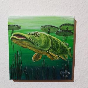 Csuka, Művészet, Festmény, Akril, Festészet, 20 x 20 cm akril kép vásznon. \nAzonnal falra rakható, keret nélkül is használható.\n\nHorgászoknak ajá..., Meska