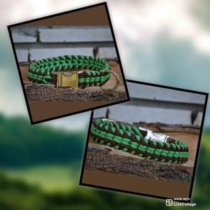 Paracord nyakörv, Otthon & Lakás, Kisállatoknak, Kutyáknak, Fonás (csuhé, gyékény, stb.), Zöld-barna klasszik csatos nyakörv, kétsoros, 550 paracordból.\n46 cm hosszú, jó vastag, masszív bátr..., Meska