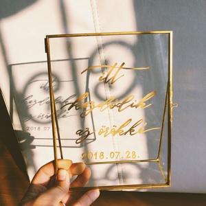 Esküvői tábla, üveg tábla, arany, ajándék, nászajándék, emlék, átlátszó, modern, elegáns , Esküvő, Tábla & Jelzés, Dekoráció, Festett tárgyak, Fotó, grafika, rajz, illusztráció, Meska