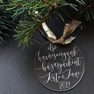 Karácsonyfadísz, karácsony, dísz, karácsonyfa, ajándék, Otthon & Lakás, Karácsony & Mikulás, Karácsonyfadísz, Festett tárgyak, Mindenmás, E G Y E D I   K A R Á C S O N Y F A D Í S Z  N É V R E S Z Ó L Ó\nEgyedi, ünnepi karácsonyfadísz.\nMÉR..., Meska