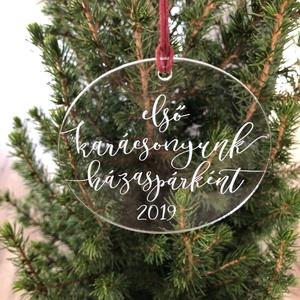 Karácsonyfadísz, karácsony, dísz, karácsonyfa, ajándék, első karácsony, baba, Otthon & Lakás, Karácsony & Mikulás, Karácsonyfadísz, Festett tárgyak, Mindenmás, E G Y E D I   K A R Á C S O N Y F A D Í S Z  N É V R E S Z Ó L Ó\nEgyedi, ünnepi karácsonyfadísz.\nMÉR..., Meska