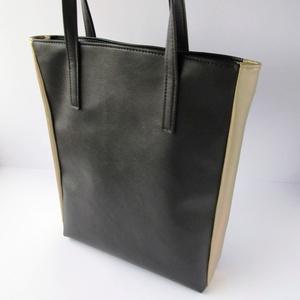 Fekete arany táska, válltáska, shopper, Táska, Táska, Divat & Szépség, Válltáska, oldaltáska, Laptoptáska, Varrás, Letisztult, elegáns, műbőrből készült táska. Könnyű,praktikus viselet. Belül világos vászonnal bélel..., Meska