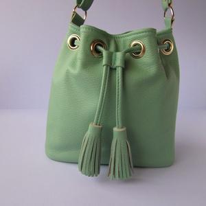 Mini vödör táska, bucket bag, valódi bőr válltáska - Meska.hu