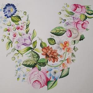 Virágfüzér - Vízfestékkel készült, Művészet, Festmény, Festmény vegyes technika, Festészet, Saját kezűleg, vízfestékkel készült festmény, virágfüzért ábrázol.\nValamivel kisebb, mint az a4-es m..., Meska
