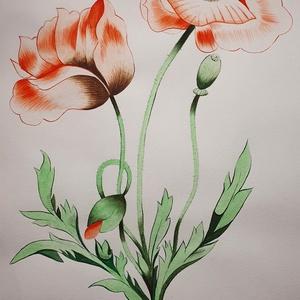Pipacs - vízfestékkel készült, Művészet, Festmény, Festmény vegyes technika, Festészet, Saját kezűleg, vízfestékkel készült festmény, pipacs virágot ábrázol.\nValamivel kisebb, mint az a4-e..., Meska