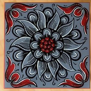Kalotaszegi motívummal festett szék - szürke, Bútor, Otthon & lakás, Szék, fotel, Dekoráció, Magyar motívumokkal, Táska, Divat & Szépség, Festészet, A Hagyományok Háza bútorfestő tanfolyamán, majd az erdélyi Gyergyószárhegyen sajátítottam el a bútor..., Meska