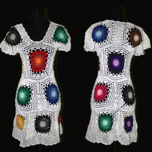 horgolt nyár minii ruha s-m-l-es méretben, Táska, Divat & Szépség, Női ruha, Ruha, divat, Ruha, Póló, felsőrész, Horgolás, Hatalmas virágok vannak rajta a szivárvány színeiben. Alsó szoknya nincs hozzá, csak a horgolt ruha ..., Meska