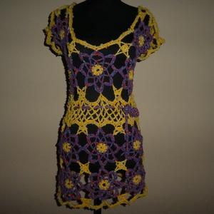 horgolt különleges mellény m-es lila-sárga, Táska, Divat & Szépség, Ruha, divat, Női ruha, Póló, felsőrész, Blúz, Horgolás, 100%kézimunka.  Ez nem jön szembe veled az utcán, saját tervek alapján készült. Ez az egy készült cs..., Meska