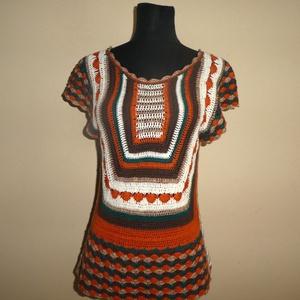 horgolt vékony nyári felső s-es, Ruha & Divat, Női ruha, Póló, felső, Vékony pamut fonalból horgoltam. Lazább fazon. s-es méretre ajánlom., Meska