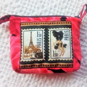PARIS bélyegekkel díszített, pink rózsás - kis neszeszer, pénztárca - Meska.hu