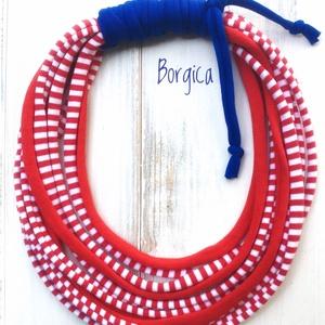 Vörös matróz - sokszálas textilékszer, újrahasznosított nyaklánc, Gyerek & játék, Baba-mama kellék, Ékszer, Nyaklánc, Csomózás, Újrahasznosított alapanyagból készült termékek, Pihe-puha textilékszer polófonalból.\nHossza a leghosszabb szálnál kb. 70 cm.\nAntiallergén, kézzel mo..., Meska