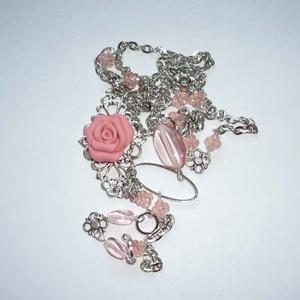 Lazacrózsaszín-ezüst hosszú asszimetrikus nyaklánc rózsával (Boriboszi) - Meska.hu