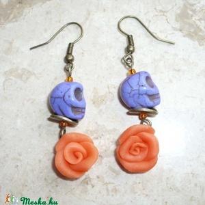 Narancs rózsa lila koponyával - füli - Meska.hu