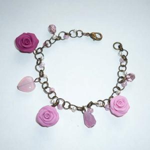 Romantika - réz karkötő rózsákkal, gyöngyökkel - Meska.hu