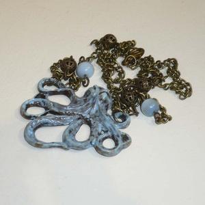 Tenger mélyén - kék, réz vintage-steampunk nyaklánc, Ékszer, Karkötő, Egy különleges, vintage-steampunk polipos nyakláncot készítettem. :)  A szépen megmunkált, közepes m..., Meska