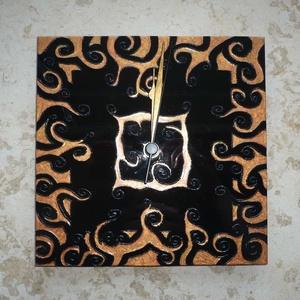 Réz-fekete egyedi festett üveg falióra  (Boriboszi) - Meska.hu