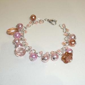Romantika -  ezüst, rózsaszín, barack karkötő (Boriboszi) - Meska.hu