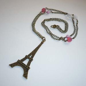 Óriás Eiffel torony fehérben és rózsaszínben - romantikus nyaklánc (Boriboszi) - Meska.hu