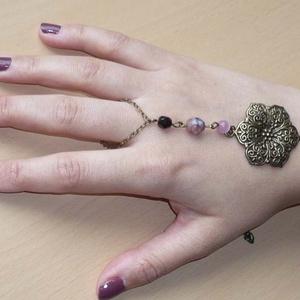 Mandalás rózsaszín-fekete réz karkötő-gyűrű (kézfejkarkötő) (Boriboszi) - Meska.hu