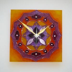 Mandala - lila, narancs mandala - egyedi festett üveg falióra (Boriboszi) - Meska.hu